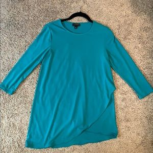 The Limited teal asymmetrical 3/4 sleeve top